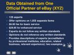 data obtained from one official partner of ebay xyz
