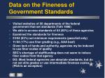 data on the fineness of government standards
