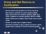 gross and net returns to certification