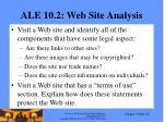 ale 10 2 web site analysis