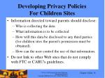 developing privacy policies for children sites