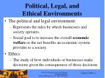 political legal and ethical environments