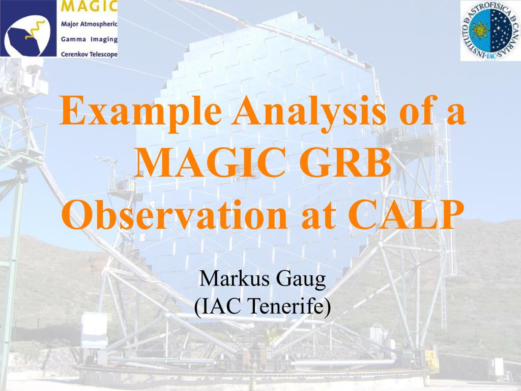 example analysis of a magic grb observation at calp l.