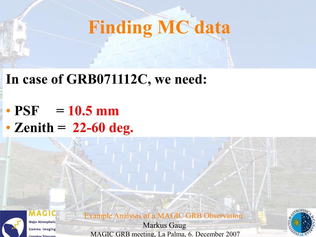 Finding MC data