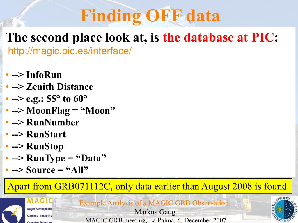 Finding OFF data