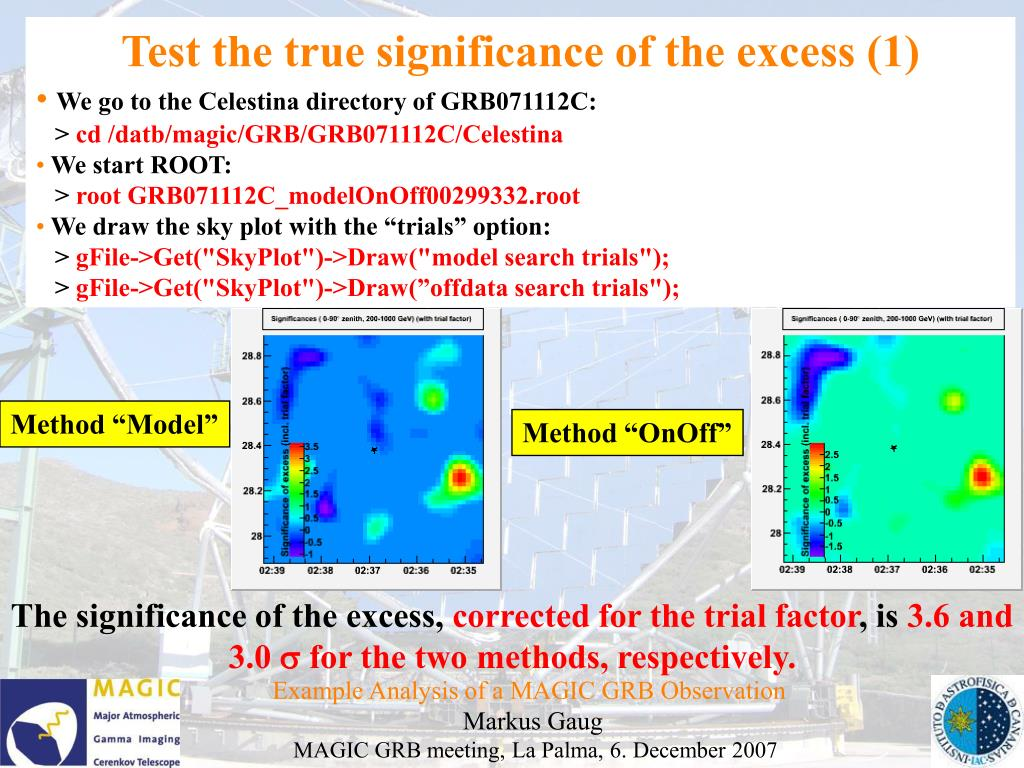 Test the true significance of the excess (1)
