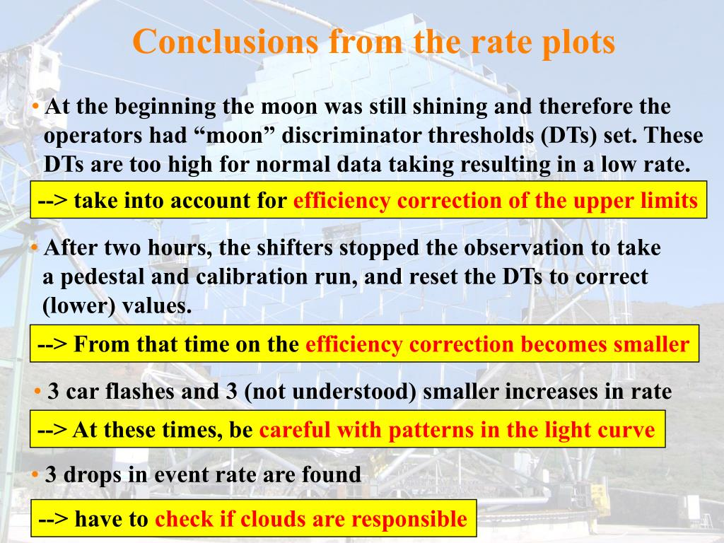 Conclusions from the rate plots