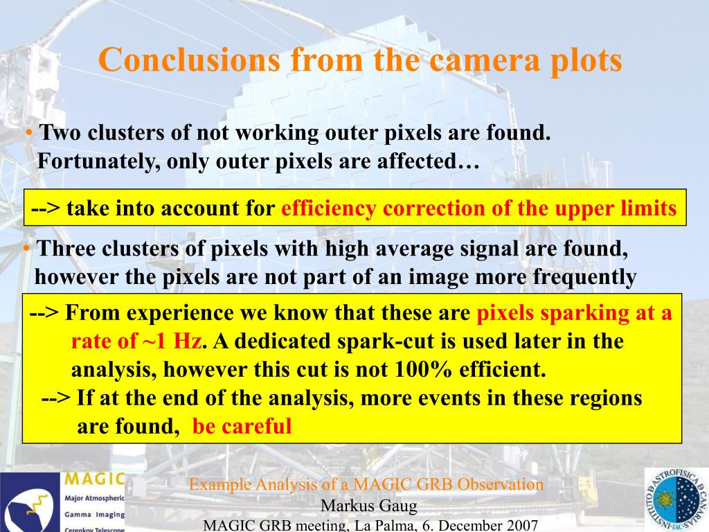 Conclusions from the camera plots