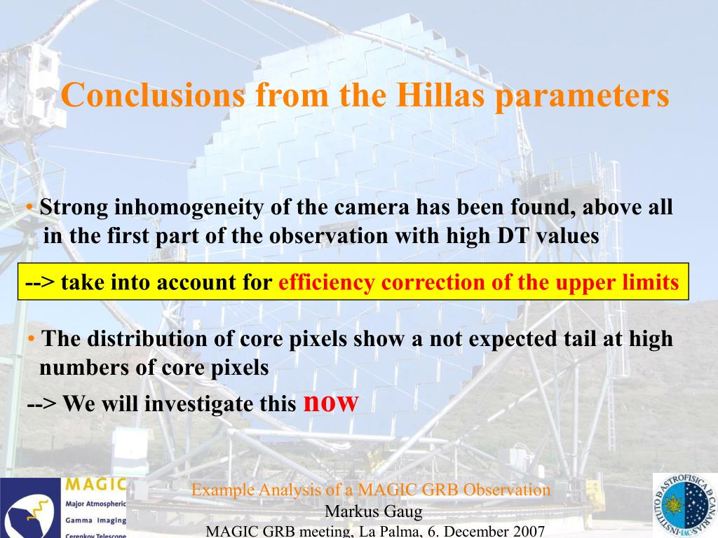 Conclusions from the Hillas parameters