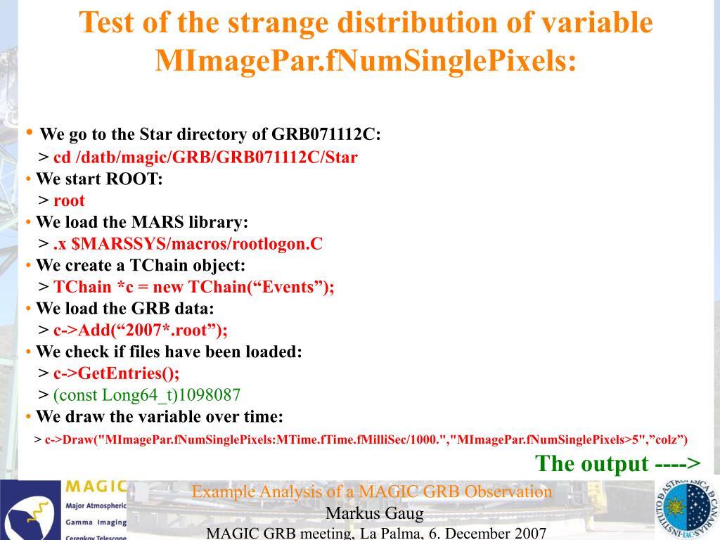 Test of the strange distribution of variable MImagePar.fNumSinglePixels: