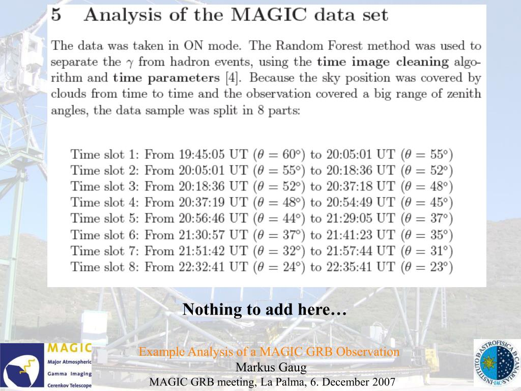Example Analysis of a MAGIC GRB Observation