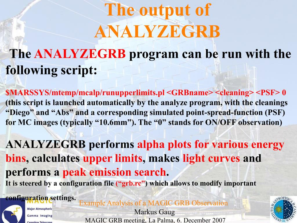 The output of ANALYZEGRB