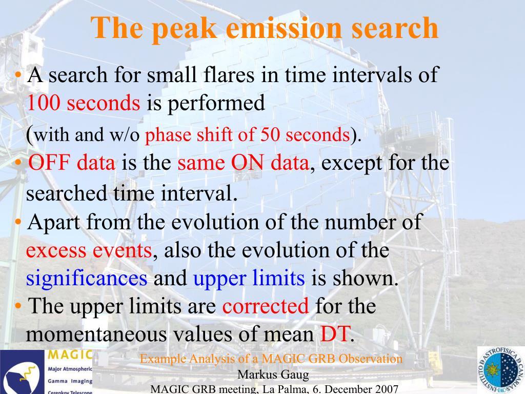 The peak emission search