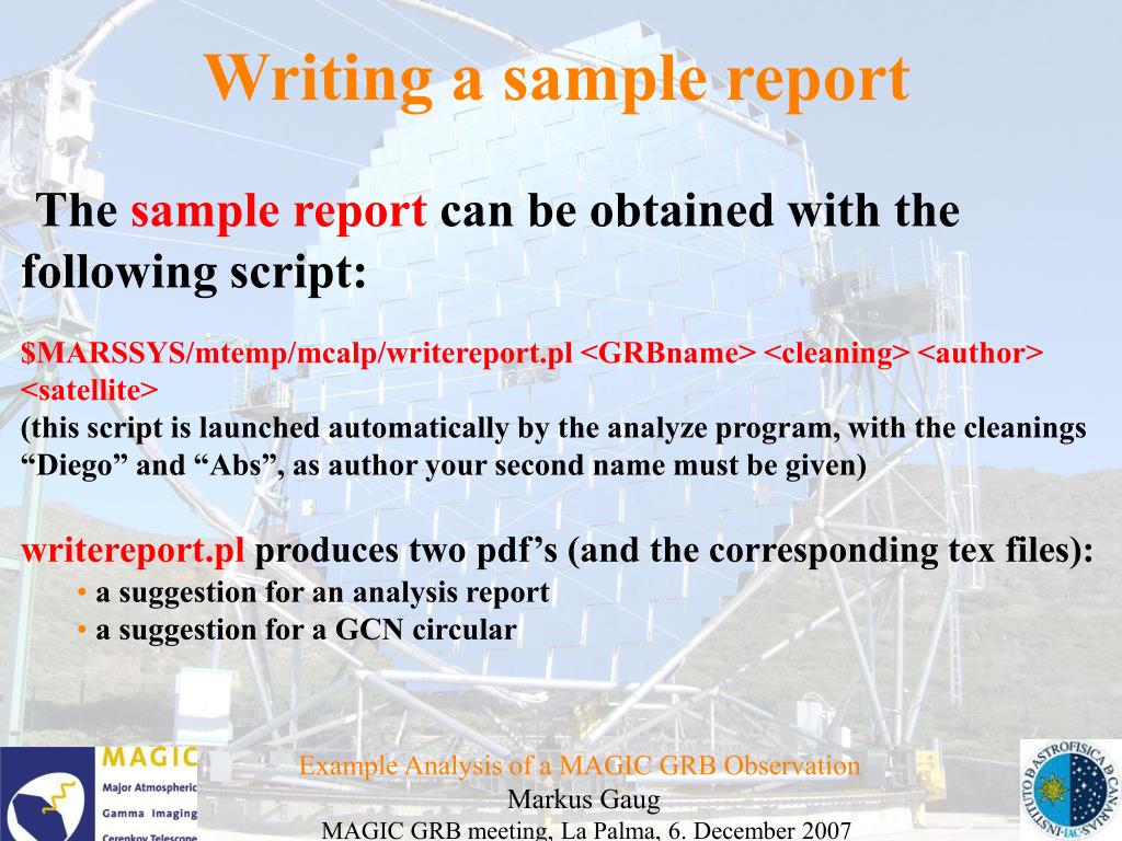 Writing a sample report