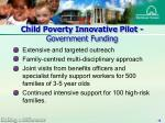 child poverty innovative pilot government funding