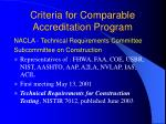 criteria for comparable accreditation program