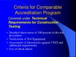 criteria for comparable accreditation program10