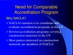 need for comparable accreditation program8