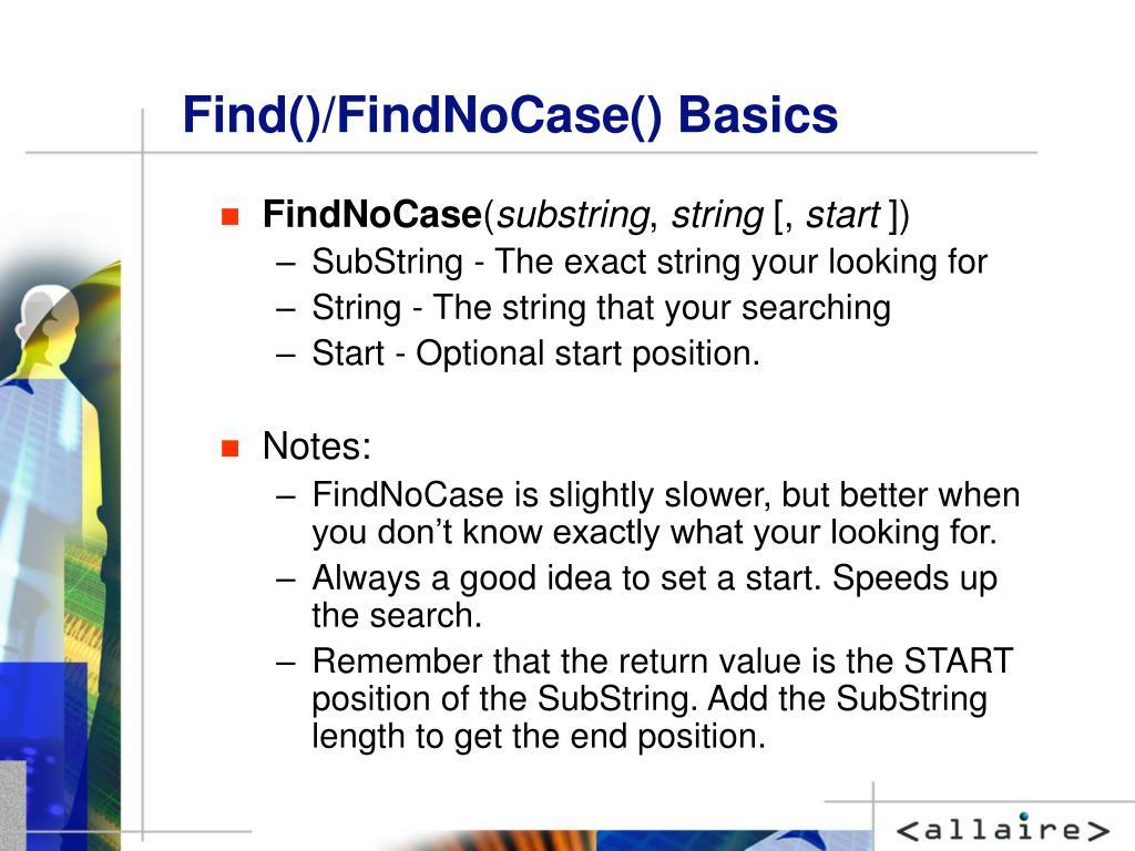 Find()/FindNoCase() Basics