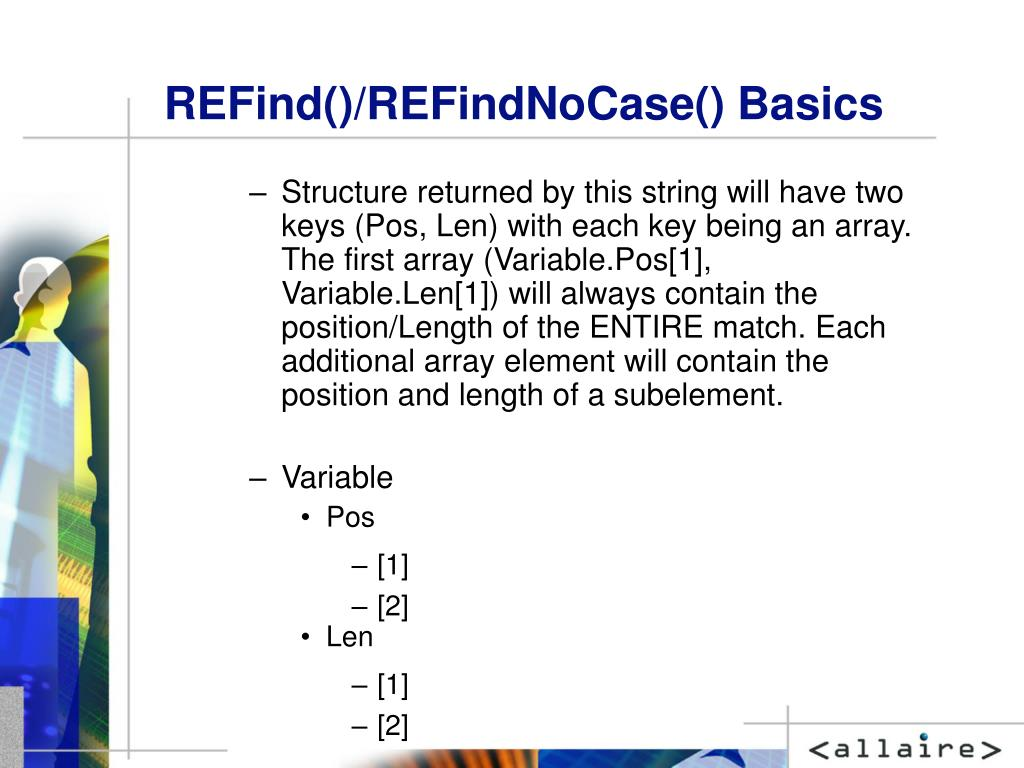 REFind()/REFindNoCase() Basics