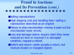 fraud in auctions and its prevention cont