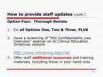 how to provide staff updates cont77