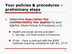 your policies procedures preliminary steps