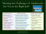 meeting the challenges of adulthood are you in the right job