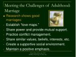 meeting the challenges of adulthood marriage