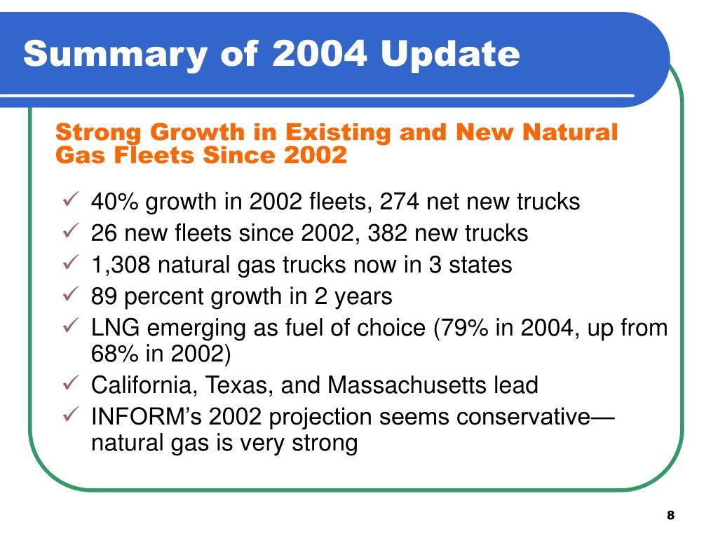 Summary of 2004 Update