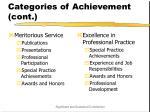 categories of achievement cont