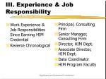 iii experience job responsibility