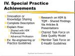 iv special practice achievements