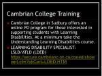 cambrian college training