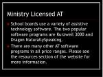 ministry licensed at