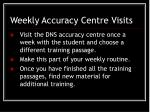 weekly accuracy centre visits