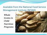 available from the national food service management institute nfsmi