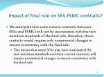 impact of final rule on sfa fsmc contracts