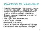 java interface for remote access