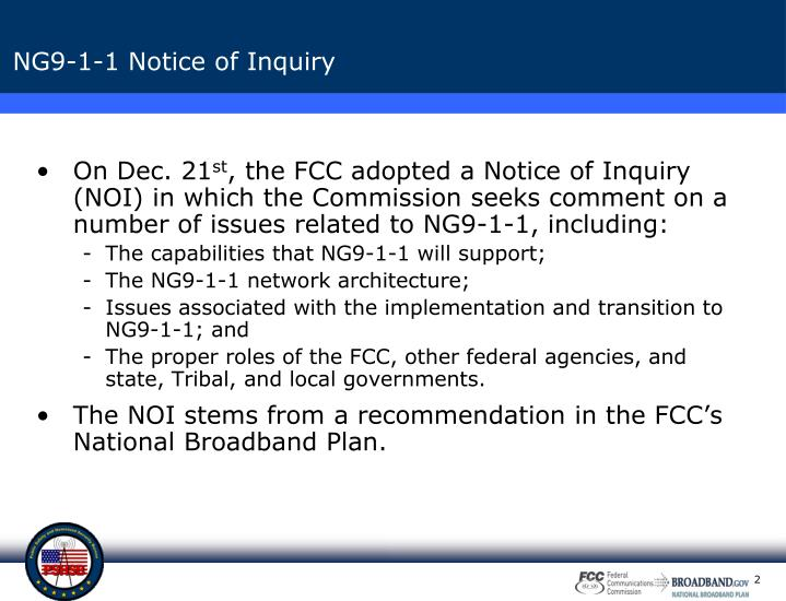 Ng9 1 1 notice of inquiry