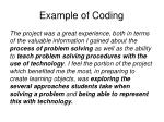 example of coding