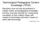technological pedagogical content knowledge tpck