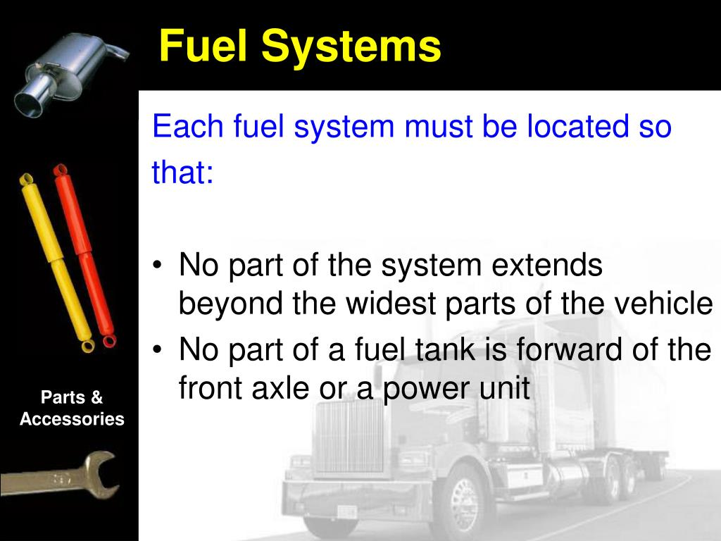 Each fuel system must be located so