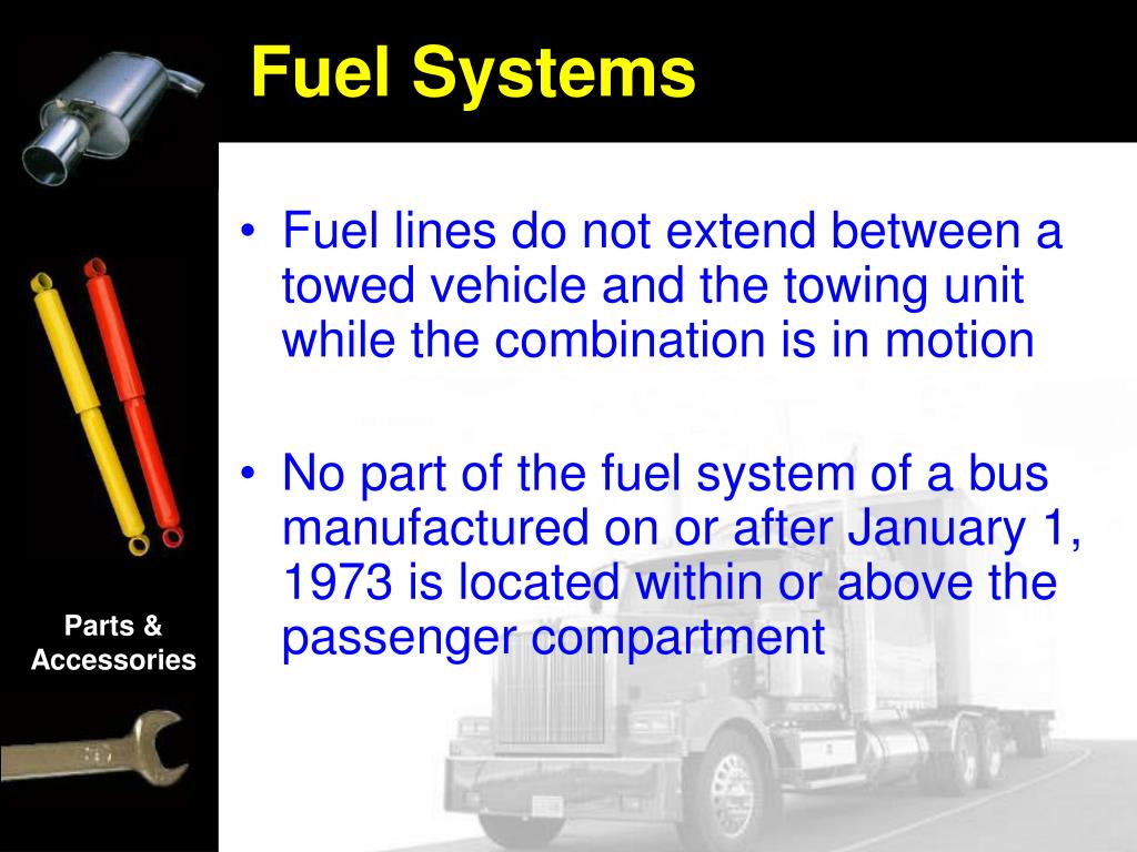 Fuel lines do not extend between a towed vehicle and the towing unit while the combination is in motion