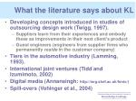 what the literature says about kl