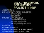 legal framework for nursing practice in india