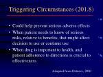 triggering circumstances 201 8