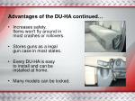 advantages of the du ha continued