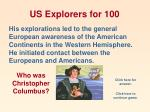 us explorers for 100