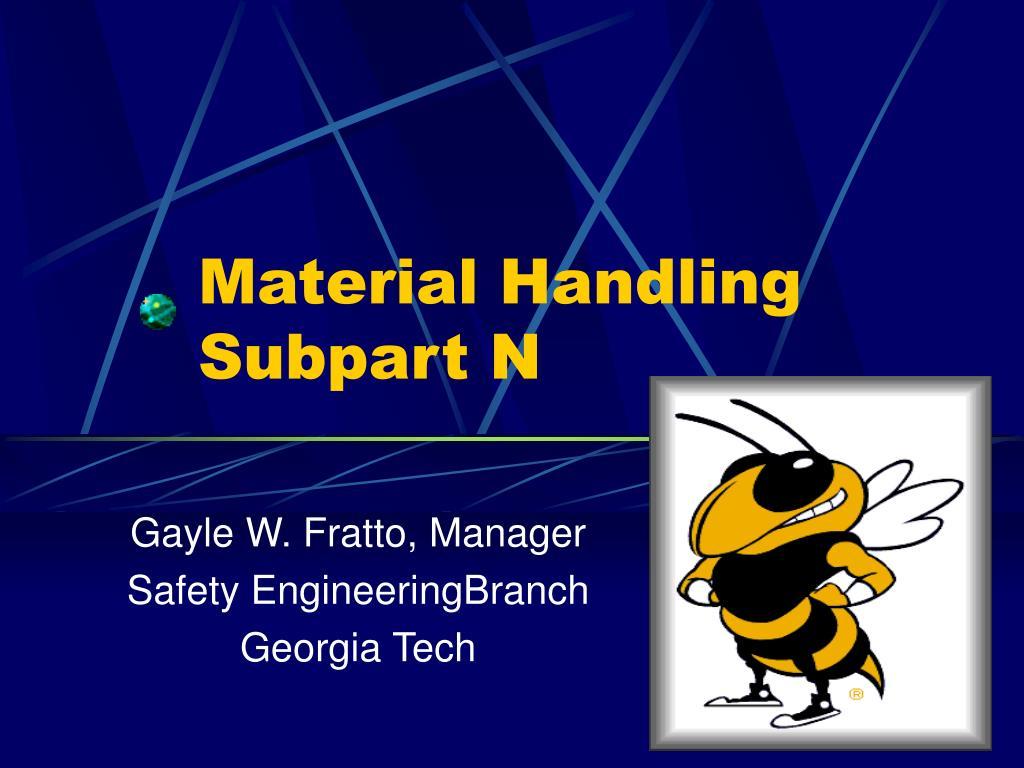 material handling subpart n l.
